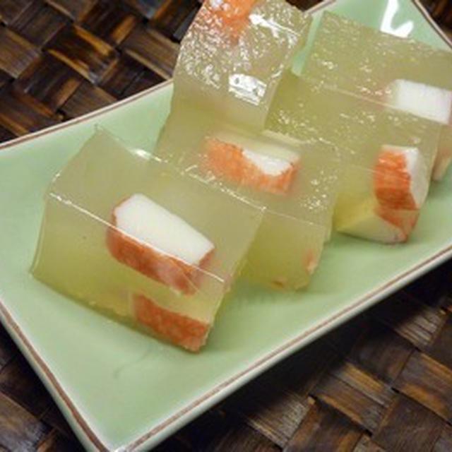 冬瓜と蟹かまの寒天ゼリー&冬瓜の皮で即席味噌漬け