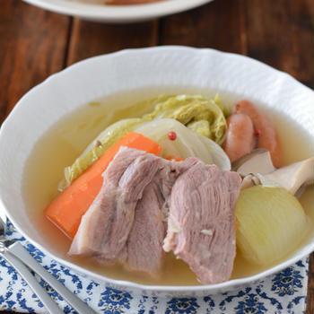 白菜ポトフ。【ブロック肉を厚切りで・おかずスープ】のごはんの日。