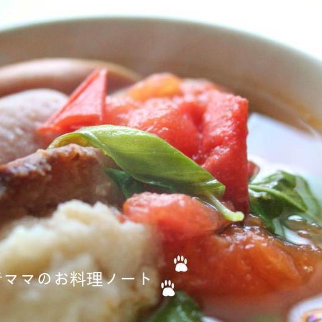 握りトマトの簡単パンスープで朝ごはん☆