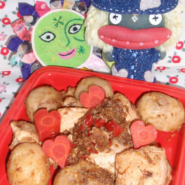 鶏肉と里芋の沙茶醤煮&キャベツの韓国海苔サラダ(お家カフェ)