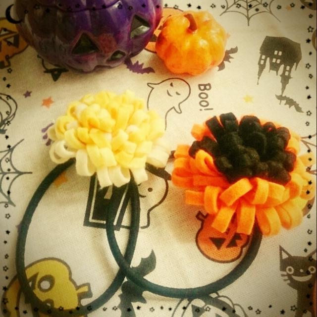 フェルトでお花のヘアゴム