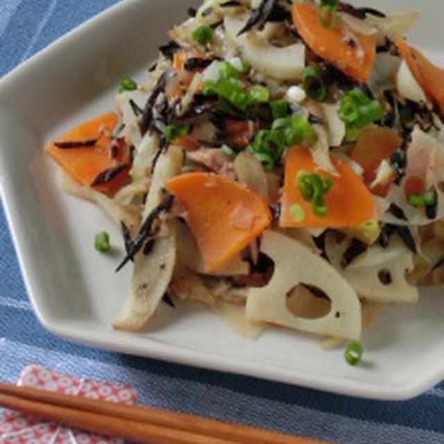 梅とチーズのコラボ☆ひじきと根菜の梅風味チーズからめ炒め
