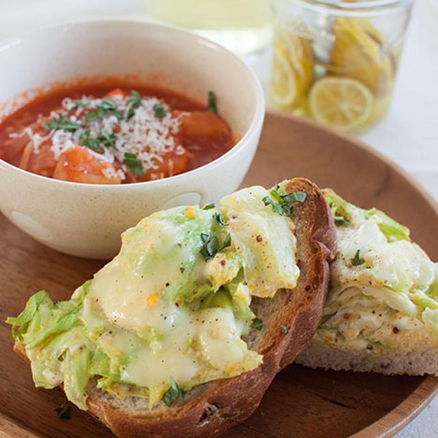 惚レタスと卵のカレーマヨチーズトーストのレシピ