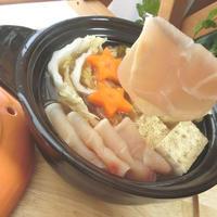 焼き豆腐と季節野菜☆牛だしつゆなべしゃぶ