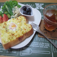 ボリューム満点!卵のっけトースト