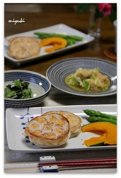 れんこんのエビと豆腐のはさみ焼き と 満開♪