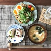 【朝ごはん】梅塩昆布枝豆おにぎり、れんこん三つ葉サラダ、お味噌汁と、あいみょん