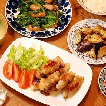 冷蔵庫の野菜を駆使した夕ご飯③【585円*豚の餅巻き定食】
