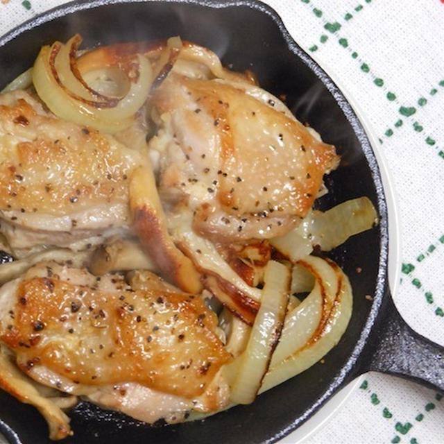スキレットで簡単にこんがりジューシー!鶏もも肉とエリンギのガーリックバター焼き。
