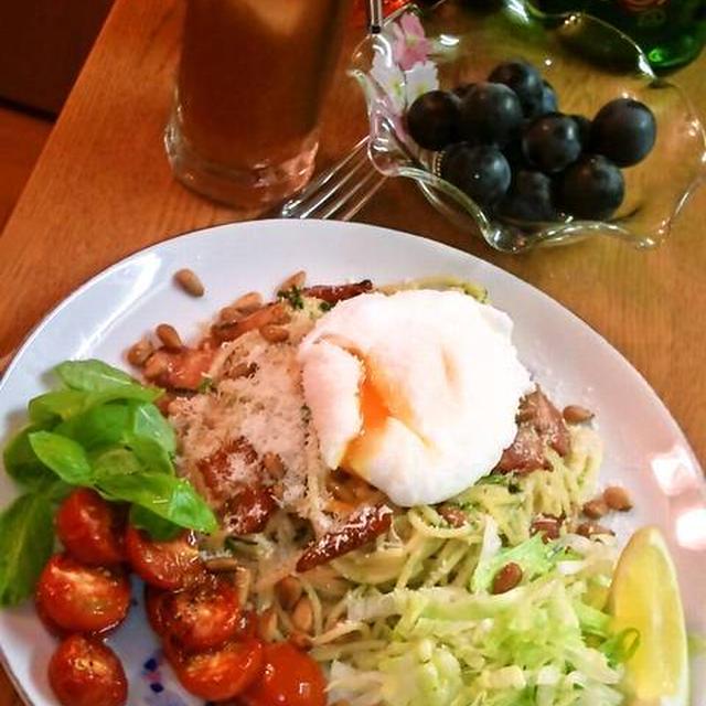 ベーコンとポーチドエッグのスパゲッティ ~ バジル&グリルしたトマトを添えて♪