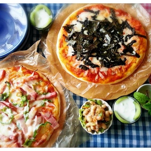 嬉し♪楽し♪美味し♪朝からハイハイハ~イテンションでピザパーティー(///ω///)♪