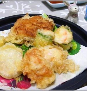 納豆と長芋in油揚げの天ぷら。。。と、お祝いありがと~!