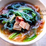 ♡簡単ヘルシー♡ベーコンと小松菜の春雨スープ♡【#時短#おかずスープ#連載】