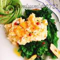 付け合わせに☆卵のせ菜の花ペペロンチーノ