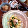 蟹とチンゲン菜と玉子の中華粥 ~ 土鍋であったか♪