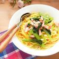 フライパンひとつで簡単! 小松菜とベーコンのスープパスタ by 庭乃桃さん