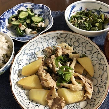 古代を味わったつもりが(^^;)&豚肉とジャガイモのガーリックバター