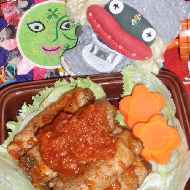 韓国風ゴーヤの豚肉巻き&林檎とアスパラの胡麻サラダ(お家カフェ)
