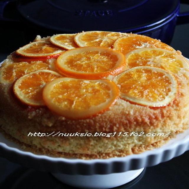 staub で オレンジのアップサイドダウンケーキ♪♪