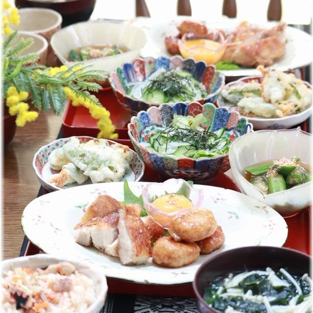 【レシピ】もも肉 と つくねの 黄身しょうゆ焼き。と 献立。と お昼ごはんも夜ごはんも!