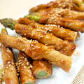 【和食】「豚モモ肉で☆アスパラの肉巻き」で晩ごはん。
