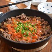 牛肉トマトのすき焼き風。【ワンパン食卓・あっさり味】のごはんの日。