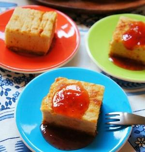 簡単♪牛乳パックとフライパンで!いちごジャムのスクエア型ベイクドチーズケーキ