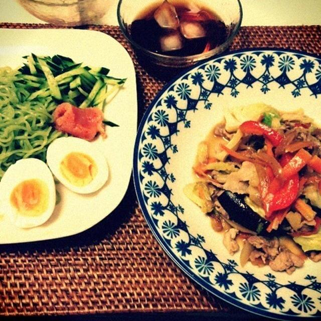 昆布ラーメンと肉野菜味噌炒め