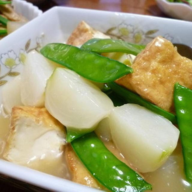 小カブと絹揚げ豆腐の煮物