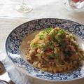 オイスターソースでコク旨♪ 鶏ひき肉と蓮根の和風パスタ by カシュカシュさん