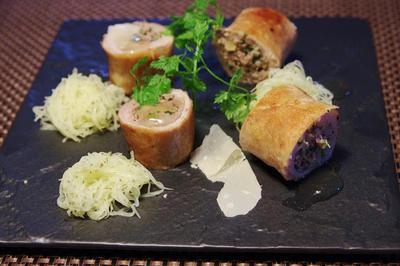 豚肉のバロティーヌ と 鮎の焼きリゾット