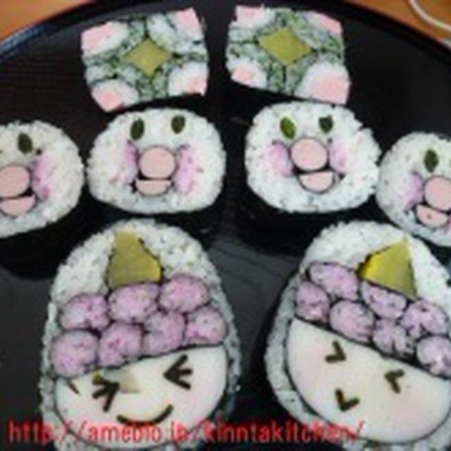 飾り巻き寿司レッスン 節分 鬼・アンパンマン(お弁当サイズ) 出張レッスンin箕面