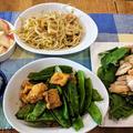もやしとちくわの酢と麺つゆ、ごま油和え ~ シンプル 鶏もも肉の塩焼