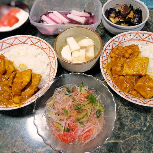 8月12✡主菜は豚肉とひよこ豆のカレー煮そして、カレーに合う野菜のおかず全4品✡やっとお休みだよ