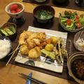 """いろいろ""""おうち串カツ""""の晩ご飯 と ヨウスケ&ラッキー 水浴び中♪"""