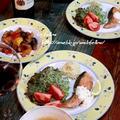 ◆秋鮭のソテーと庭のレモングラスでスープ♪