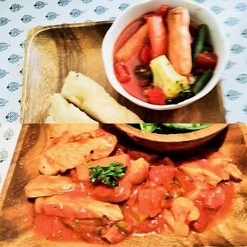 昼のトマトスープ 夜の豚トマト煮込み