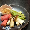 生姜味噌で簡単、温野菜の味噌マヨディップ