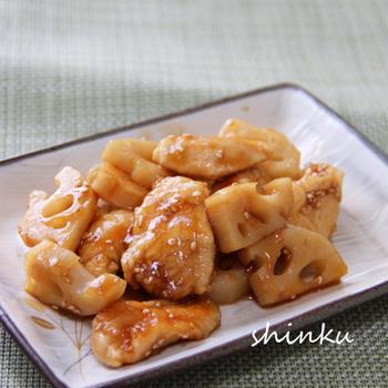 節約*柔らか鶏むね肉とれんこんの甘酢炒め
