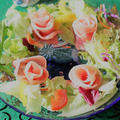 <クリスマス☆生ハムの薔薇のリースサラダ>