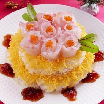 醤油ジュレでホワイトクリスマスケーキ寿司