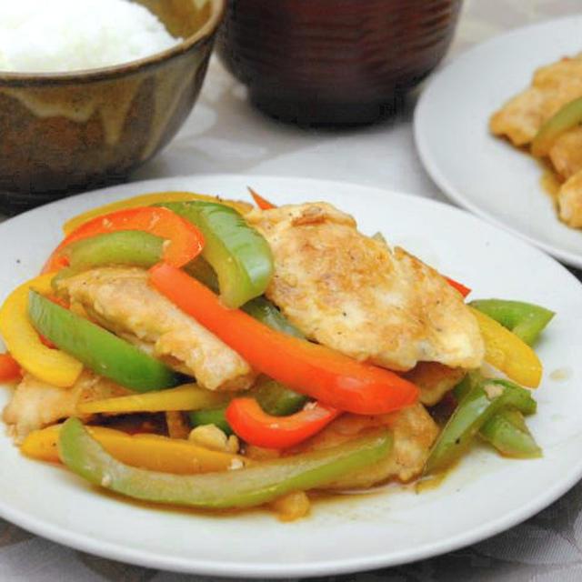 鶏胸肉のピカタとパプリカの甘酢炒め