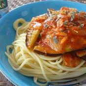 ナスとベーコンのトマトソーススパゲッティ