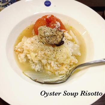 牡蠣のスープリゾット