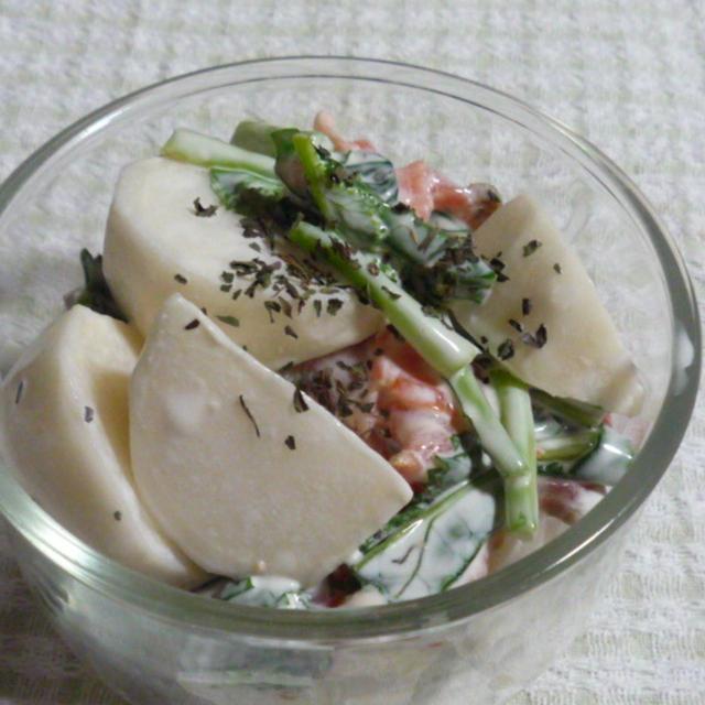 スパイスでしあわせの香り『ミントマヨネーズの蕪とサーモンのサラダ』