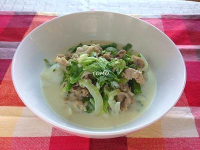 ヘルシー!生クリーム不使用♪白菜と菜の花と豚肉の豆乳クリーム煮