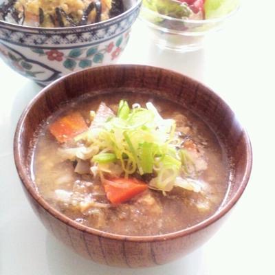 ぬか漬けと納豆のお味噌汁