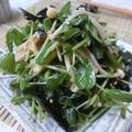シャキシャキしみうま♪ 5分以内☆ 豆苗とエノキとわかめの中華サラダ