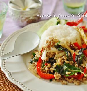 タイ料理の人気メニュー☆ガパオライス(ひき肉のバジル炒め)