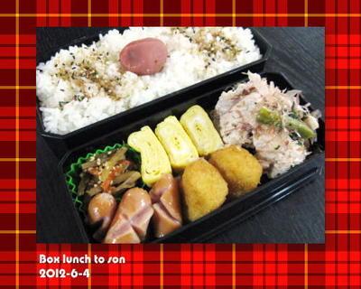 ★6月4日のお弁当 -ほうれん草と豚肉のポン酢おかか和え-
